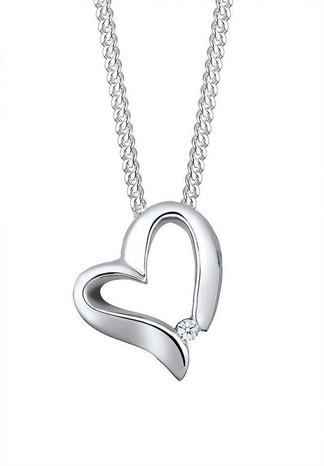 Elli Premium Kette mit Anhänger »Herz Diamant, 0109340815« mit Diamant in Silber 925