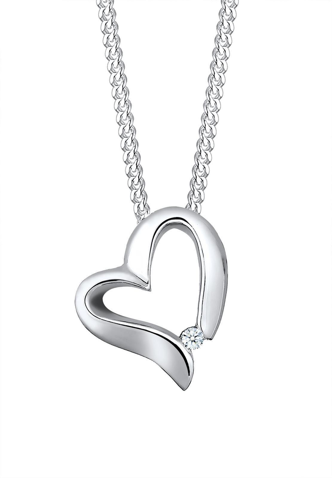 Elli Premium Kette mit Anhänger »Herz Diamant, 0109340815«, mit Diamant