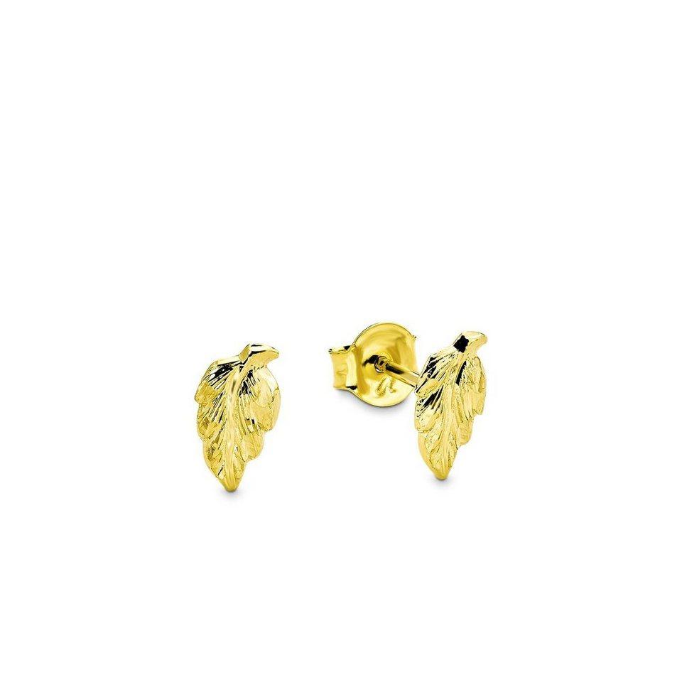 Amor Paar Ohrstecker »Blatt, L63/21 345118« in Gelbgold 333