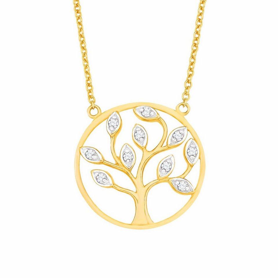 Amor Kette mit Anhänger »Lebensbaum, NE120/3 569217« mit Zirkonia (synth.) in Silber 925-goldfarben