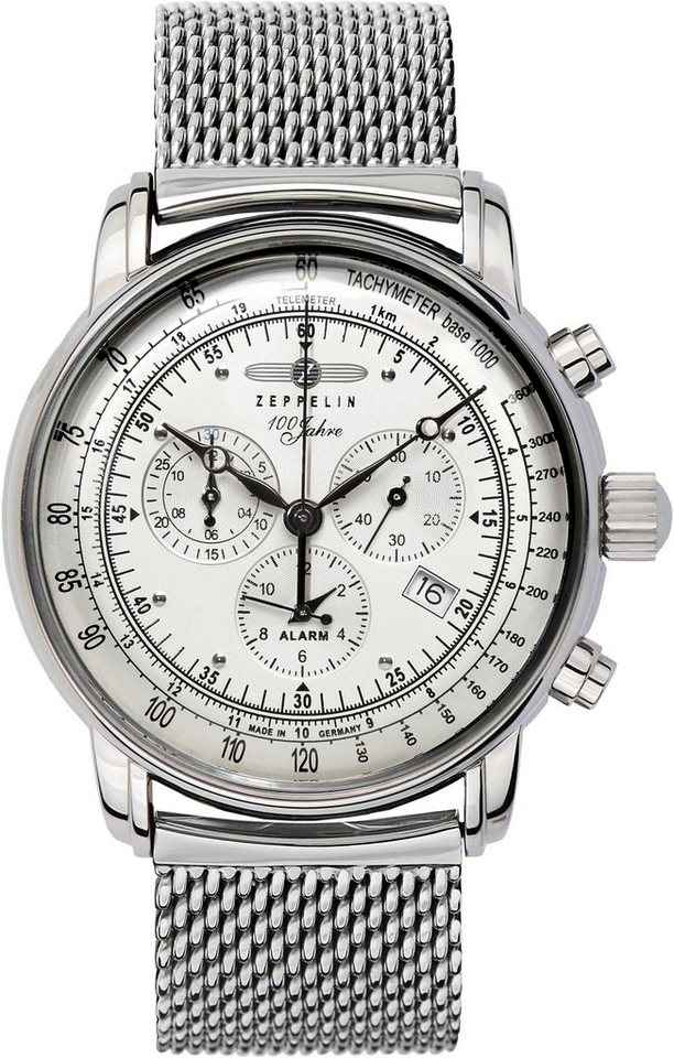 ZEPPELIN Chronograph »100 Jahre Zeppelin, 7680M-1« Made in Germany in silberfarben