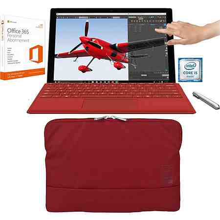 Microsoft Surface Pro 4 Convertible inkl. Typ Cover (rot), Office 365 Personal und Tucano Tasche