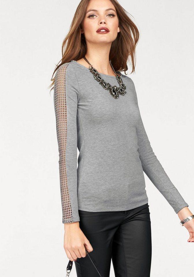 Melrose Langarmshirt mit Netzeinsatz in den Ärmeln in grau-meliert