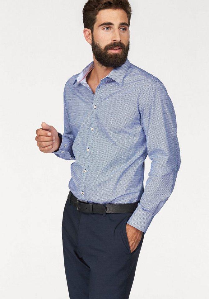 Bruno Banani Businesshemd in blau-weiß-Minimalmuster