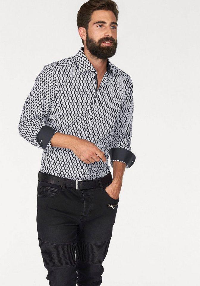 Olymp Businesshemd »Level 5, body fit« in weiß-schwarz-gemustert