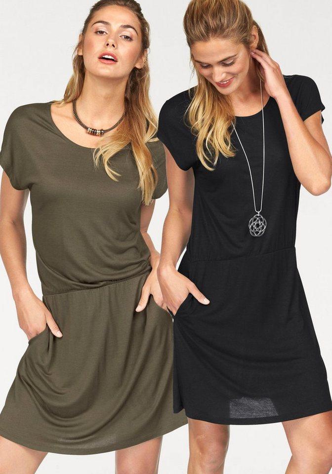 Flashlights Jerseykleid mit Taillienraffung (Packung, 2er-Pack) in khaki+schwarz