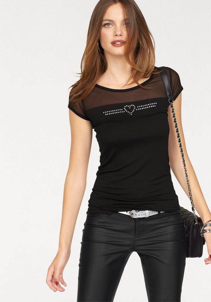 Melrose T-Shirt mit Mesh-Einsatz in schwarz