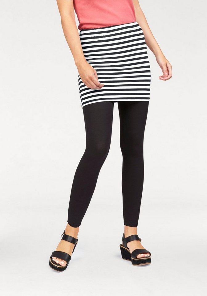 Flashlights Jerseyrock mit garngefärbten Streifen (Set, mit Leggings) in schwarz-weiß-gestreift+schwarz