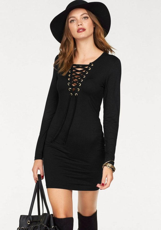 Melrose Jerseykleid mit Schnürung in schwarz