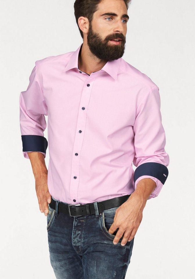 Bruno Banani Businesshemd in rosa-weiß-kariert