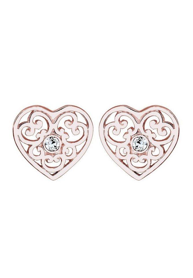 Elli Paar Ohrstecker »Herz, 303391516« mit Swarovski® Kristallen in Silber 925-roségoldfarben