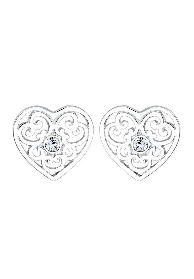 Elli Paar Ohrstecker »Herz, 0306361516« mit Swarovski® Kristallen in Silber 925