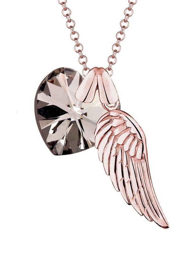 Elli Kette mit Anhänger »Flügel und Herz, 0101412815« mit Swarovski® Kristall in Silber 925-roségoldfarben
