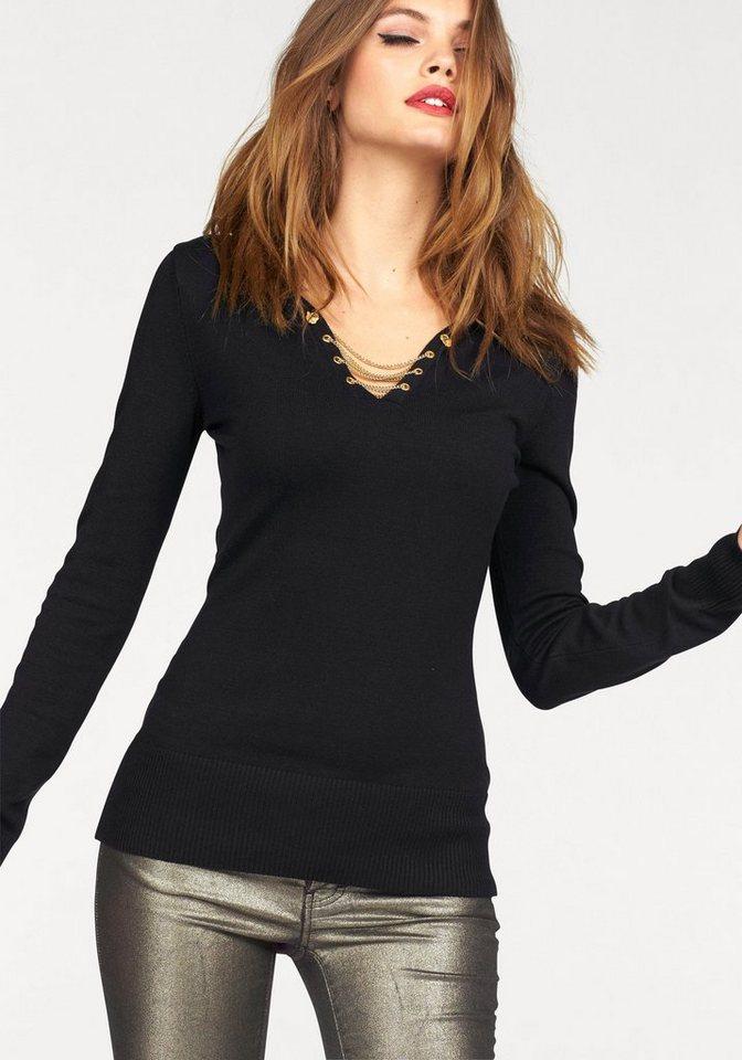 Melrose V-Ausschnitt-Pullover mit Ketten-Schnürung in schwarz