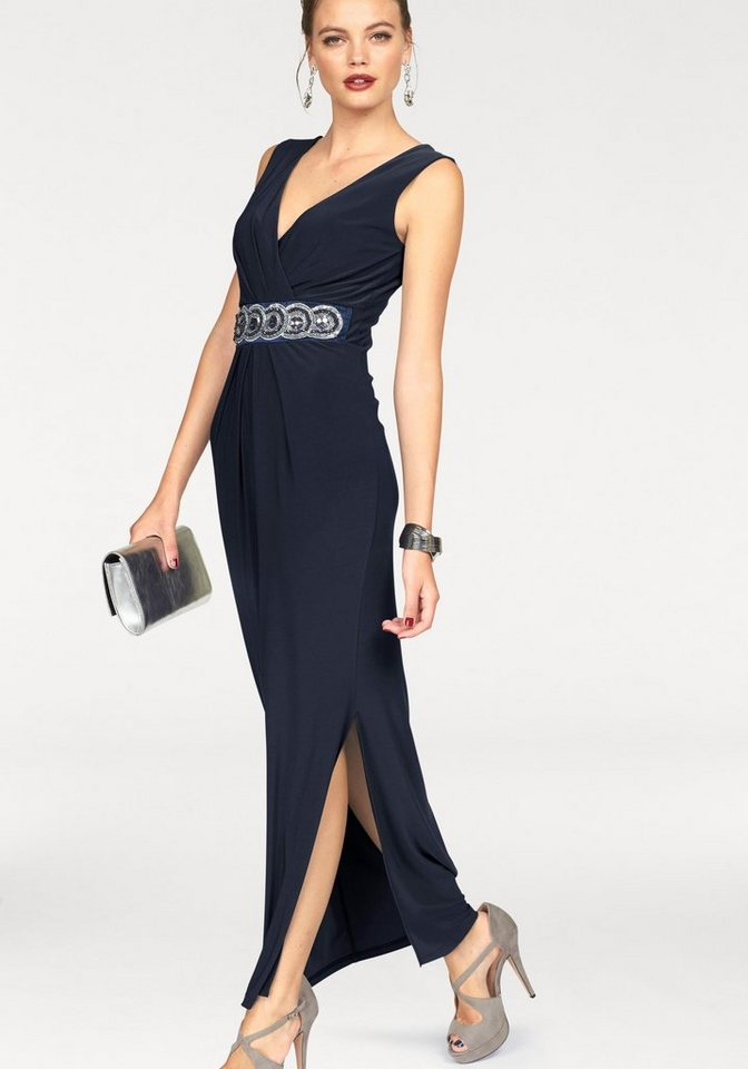 Melrose Abendkleid mit Schmucksteinen in dunkelblau