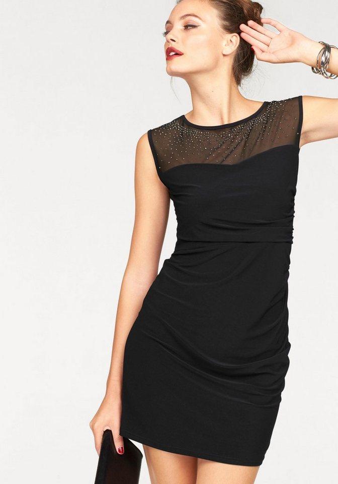 Melrose Jerseykleid mit Mesheinsatz und Glitzersteinen in schwarz