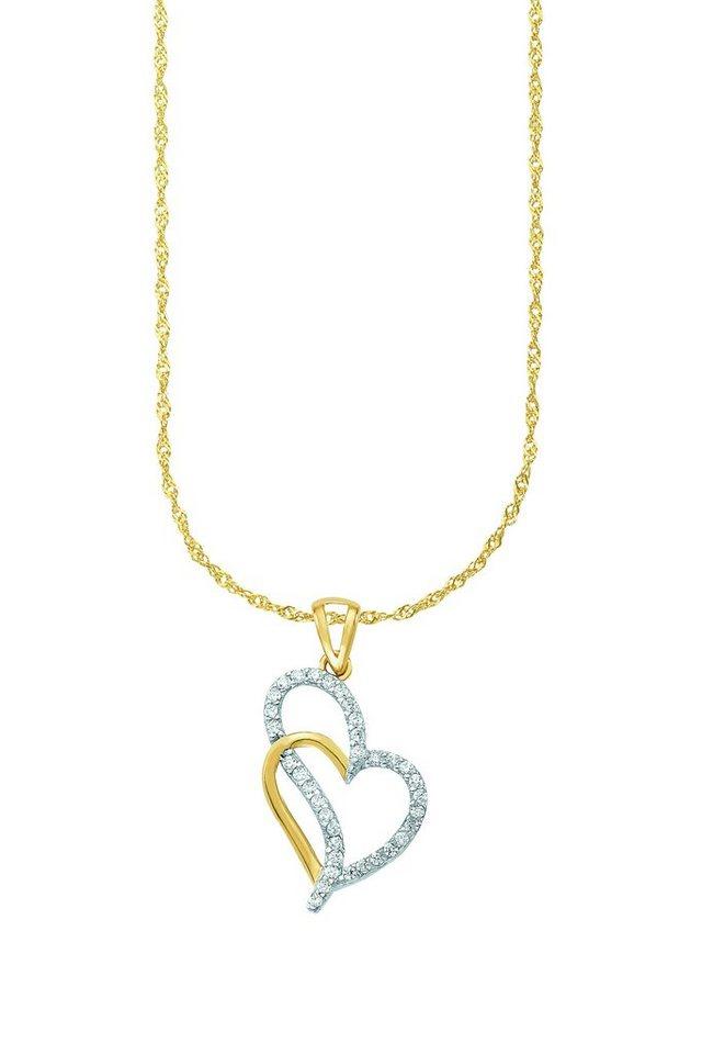 Amor Kette mit Anhänger »Herz, N52/14 564281« mit Zirkonia in Gelbgold 333