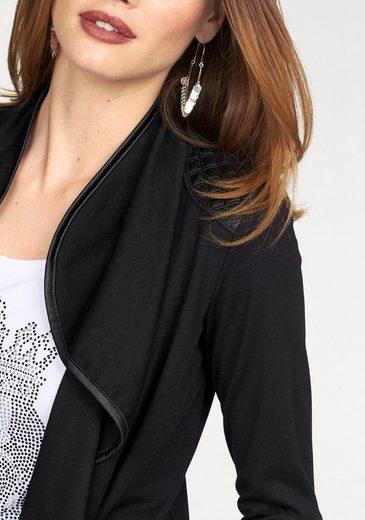 Melrose Shirtjacke, mit glänzendem Steppeinsatz und Paspelierung