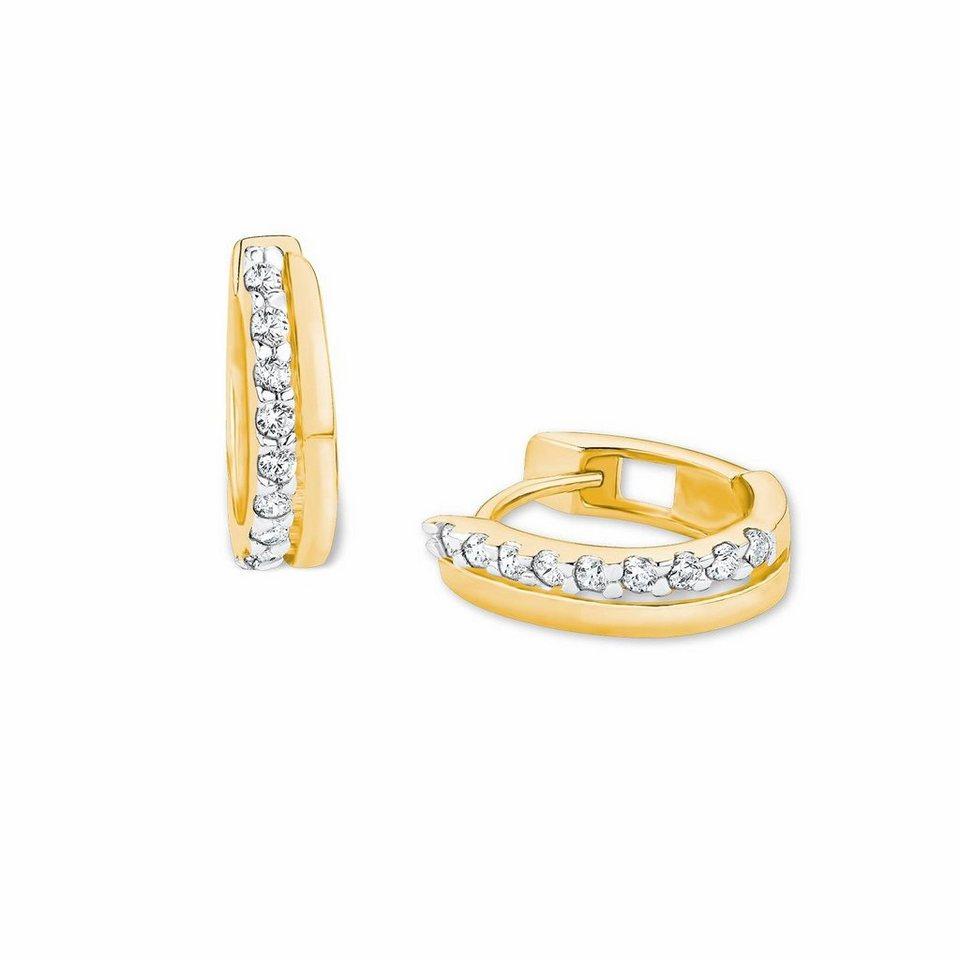 Amor Paar Creolen »NE120/7 569279« mit Zirkonia in Silber 925-goldfarben