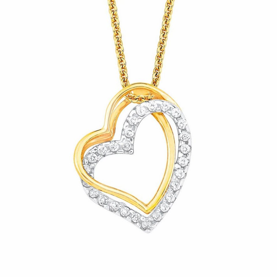 Amor Kette mit Anhänger »Herz, NE120/11 569361« mit Zirkonia in Silber 925-goldfarben