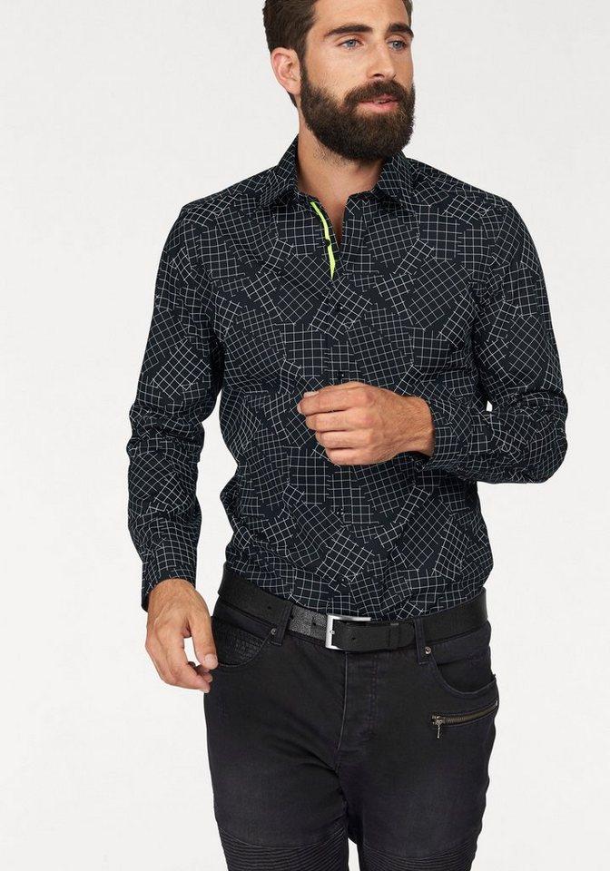 Olymp Businesshemd »Level 5, body fit« in schwarz-weiß-gemustert
