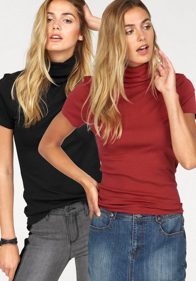 Flashlights Rollkragenshirt aus reiner Baumwolle (Packung, 2er-Pack) in ziegelrot+schwarz
