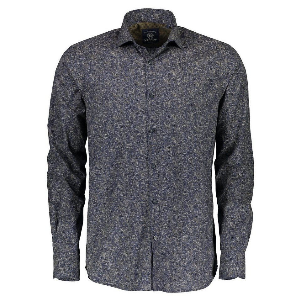LERROS Langarmhemd mit Alloverprint in NAVY