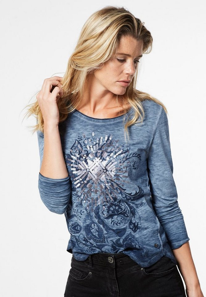 CECIL Langarmshirt mit Pailletten in deep blue