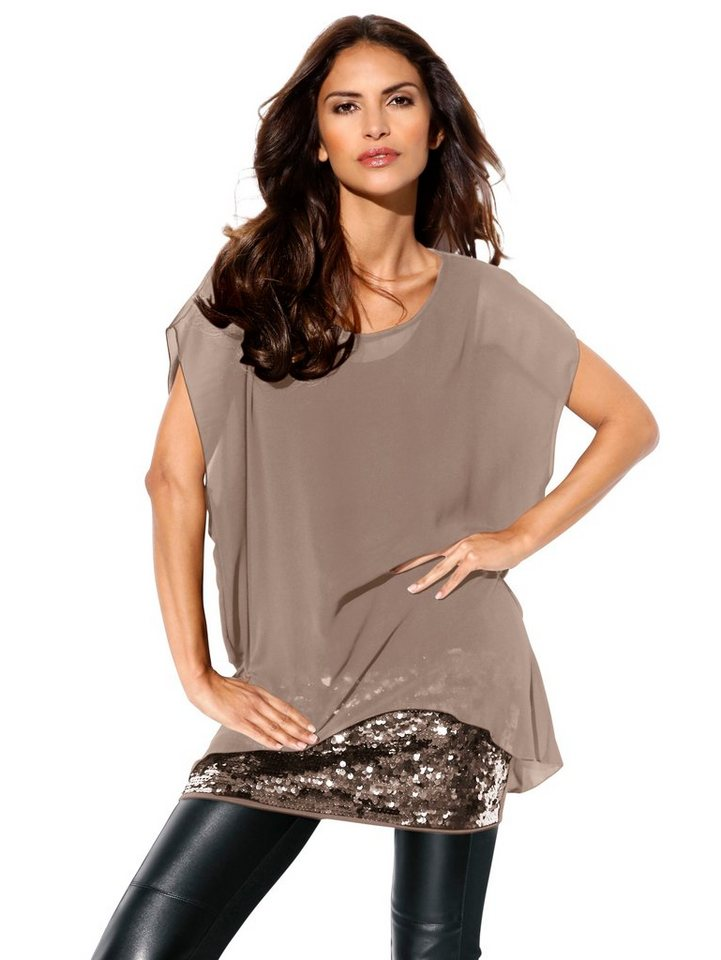 Longbluse in taupe