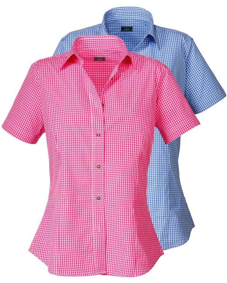 Luis Steindl Doppelpack Vichykaro-Blusen in Blau/Pink