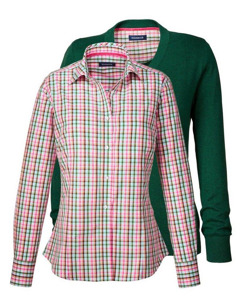 Highmoor Set Pullover und Bluse in Rosé/Grün