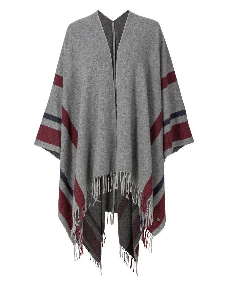 Marc O'Polo Poncho in Grau/Bordeaux