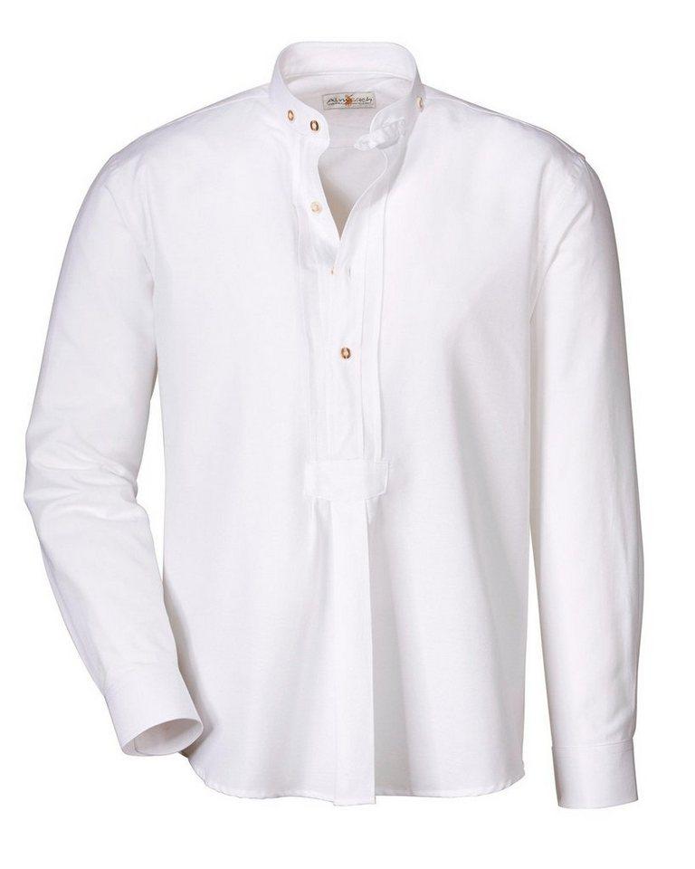Almsach Stehkragenhemd Basic in Weiß