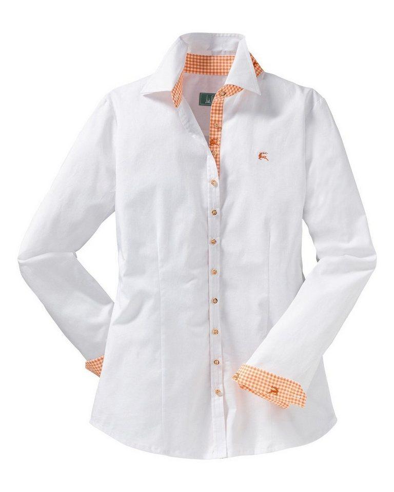 Luis Steindl Hemdbluse in Weiß/Orange