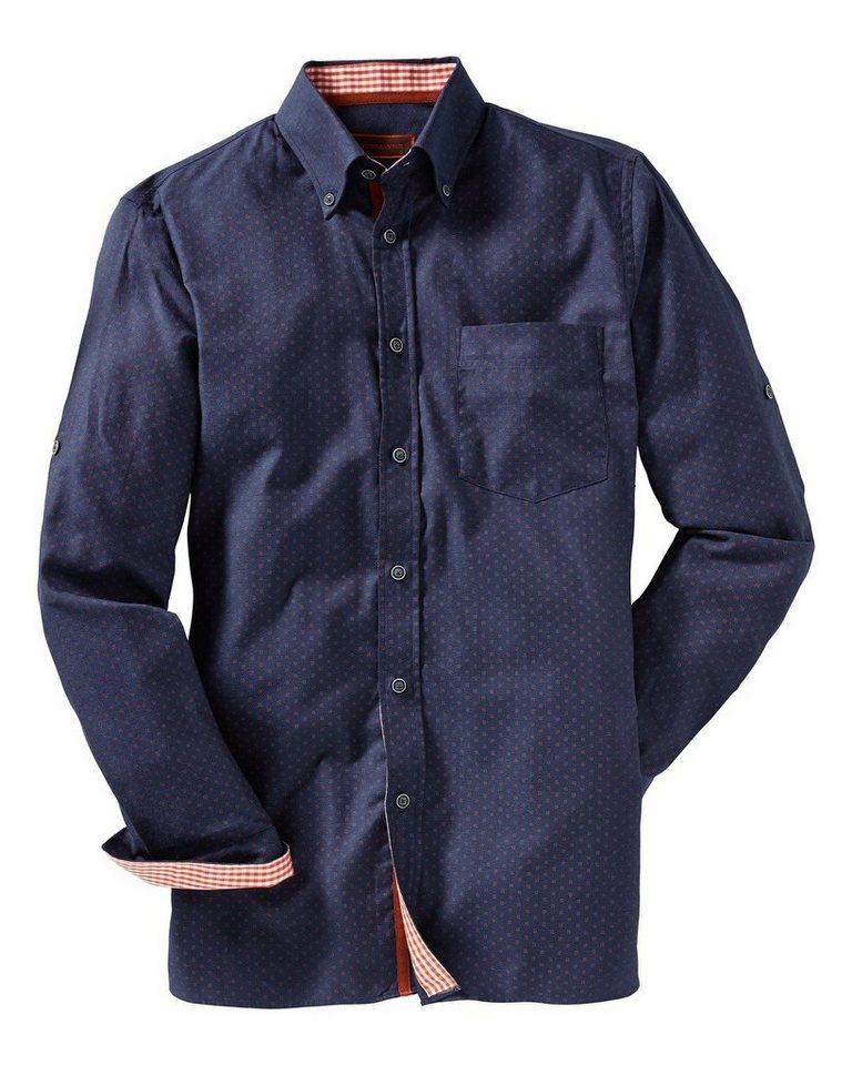 Reitmayer Langarmhemd in Blau/Orange