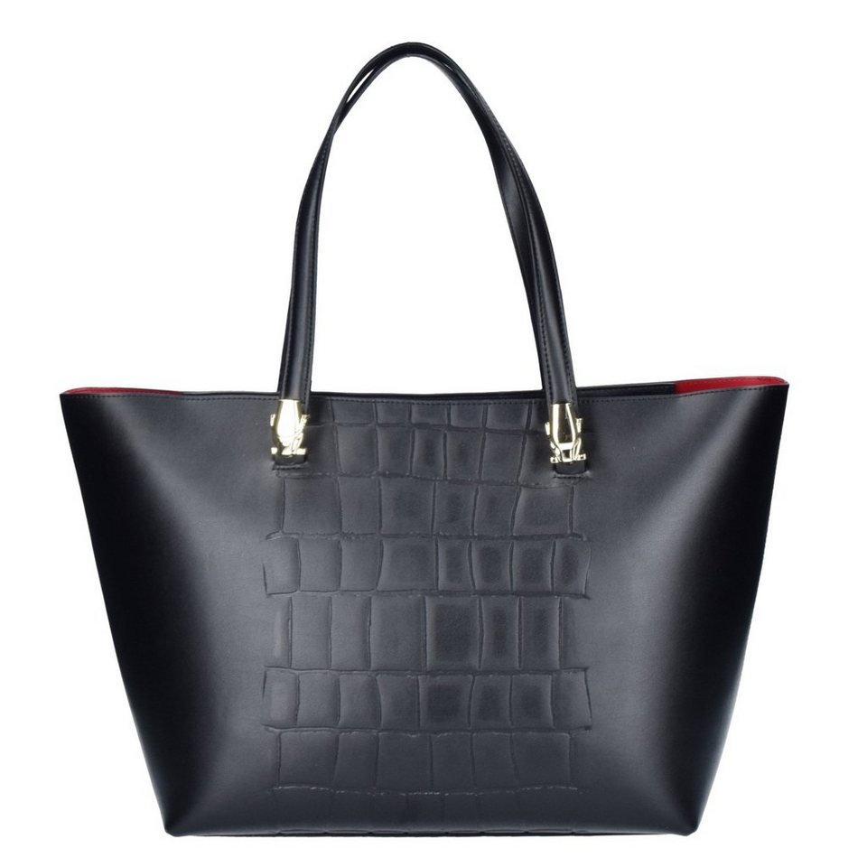 Roberto Cavalli Class Panther4ever Shopper Tasche Leder 33 cm in black
