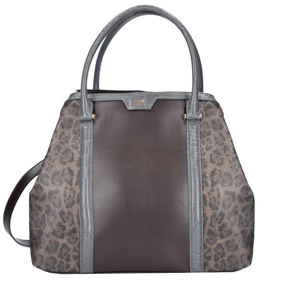 Roberto Cavalli Class Signature Collection Handtasche Leder 31 cm in dark brown grey