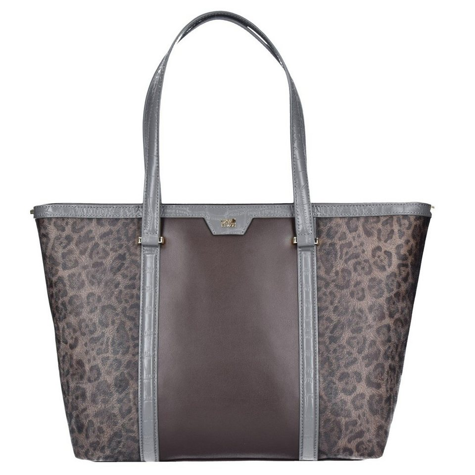Roberto Cavalli Class Signature Collection Shopper Tasche Leder 32 cm in dark brown grey