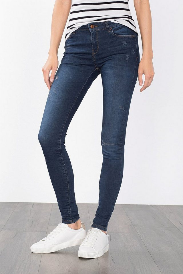 ESPRIT CASUAL Skinny-Jeans im Used-Look in BLUE DARK WASHED