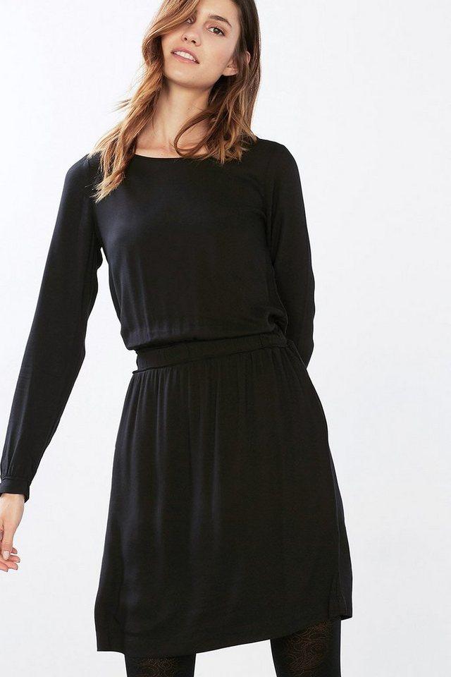 EDC Fließendes Kleid mit Bindebändchen in BLACK