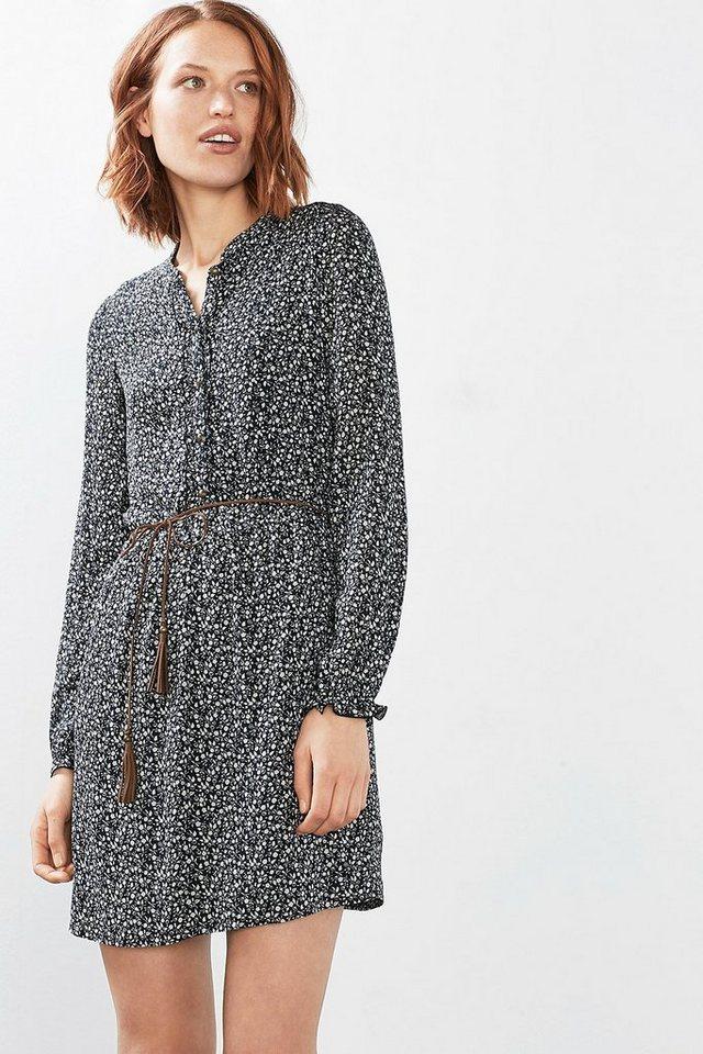 ESPRIT CASUAL Fließendes Print-Kleid mit Bindegürtel in BLACK