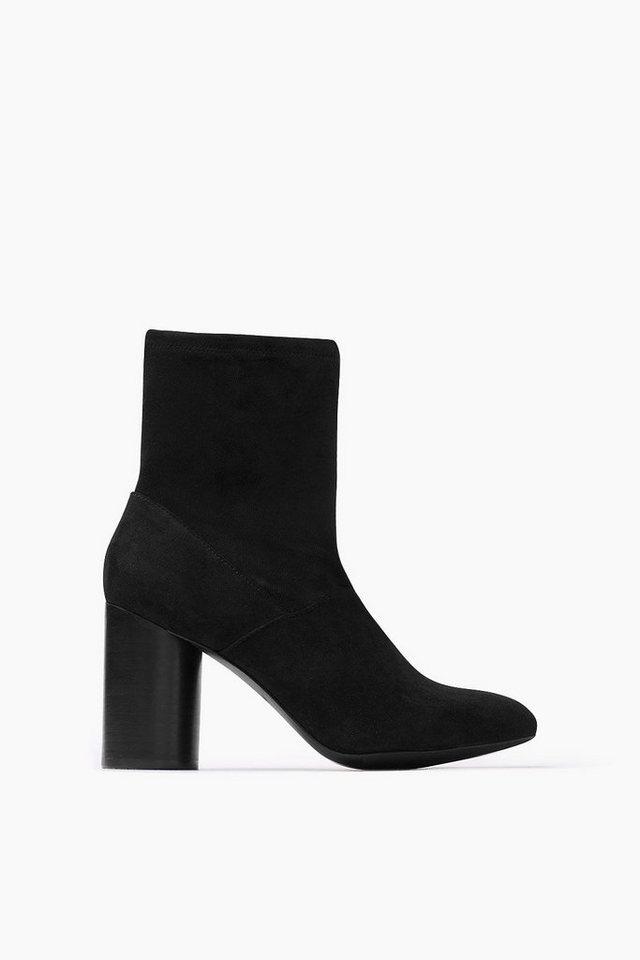 ESPRIT CASUAL High Heel Velours Bootie in BLACK