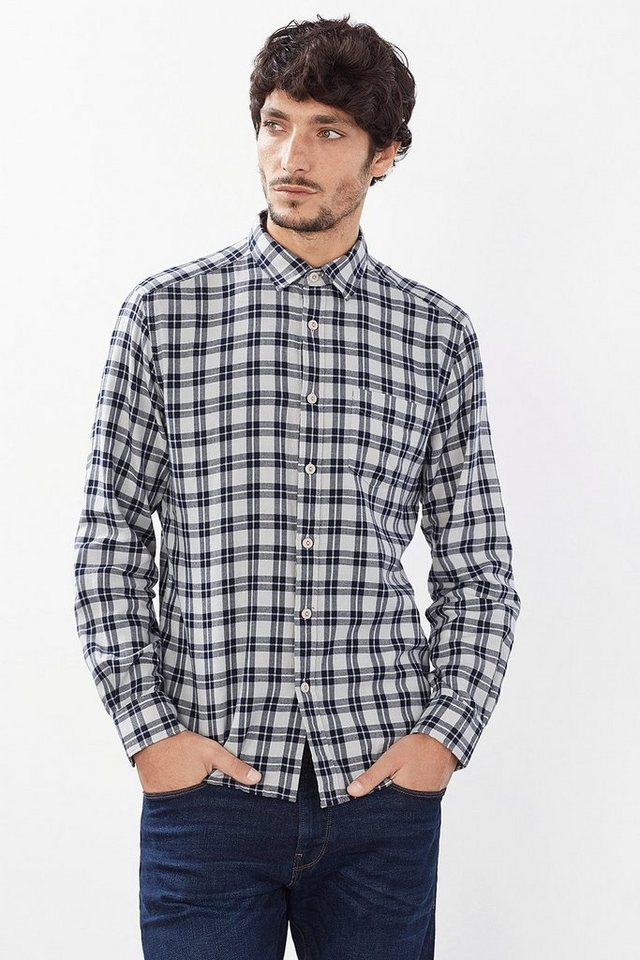 ESPRIT CASUAL Kariertes Hemd, 100% Baumwolle in NAVY