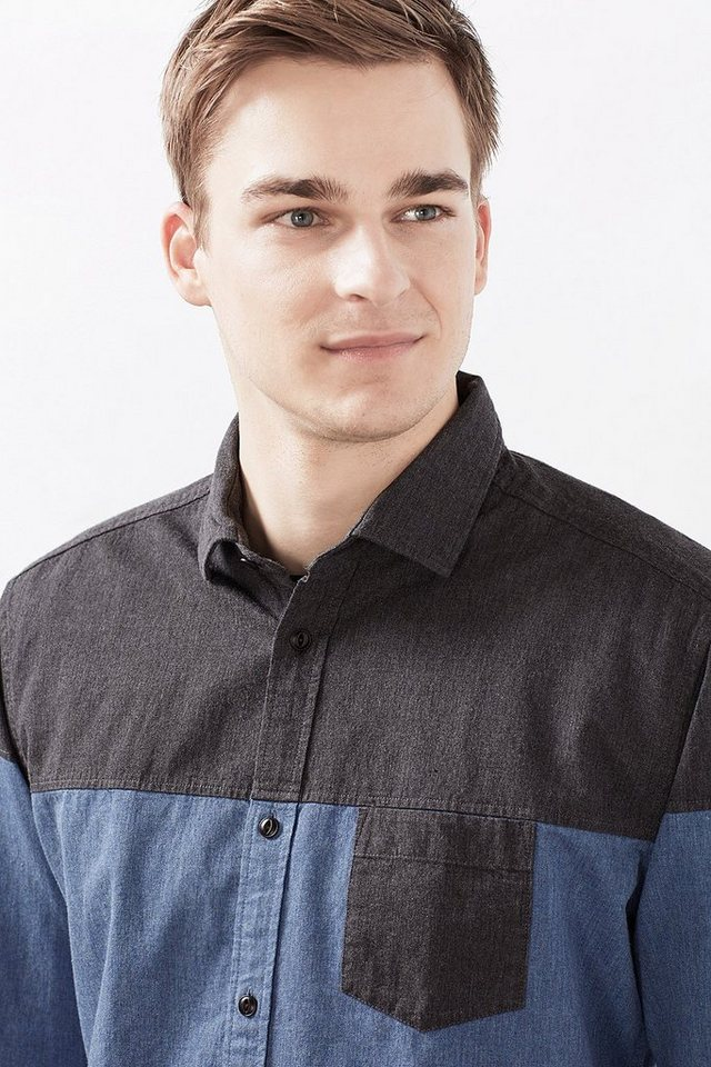 ESPRIT CASUAL Colorblock Hemd aus kräftiger Baumwolle in BLUE
