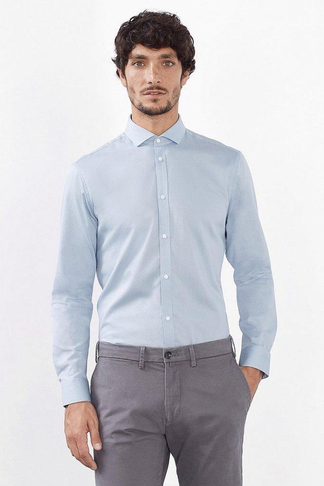 ESPRIT COLLECTION Baumwoll Hemd mit feinem Rautenmuster in LIGHT BLUE
