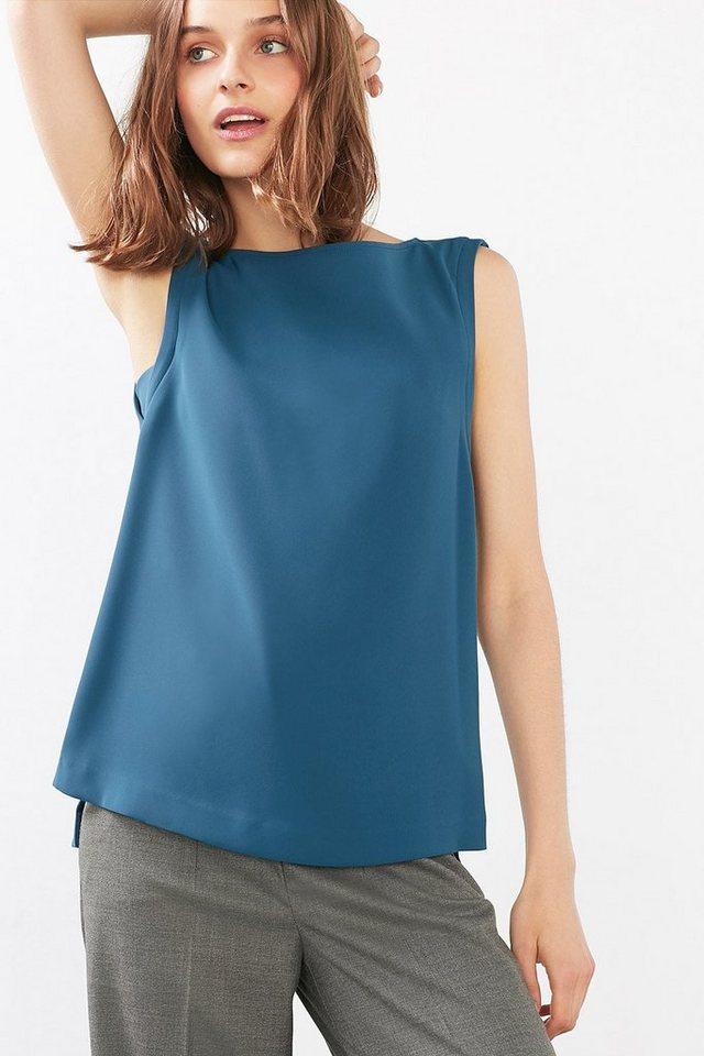 ESPRIT COLLECTION Fließendes Blusen-Shirt mit Akzentzipper in PETROL BLUE