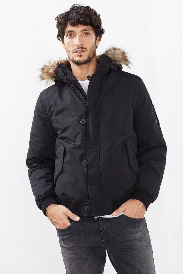 ESPRIT CASUAL Daunen/Feder Jacke im Bomber-Stil in BLACK