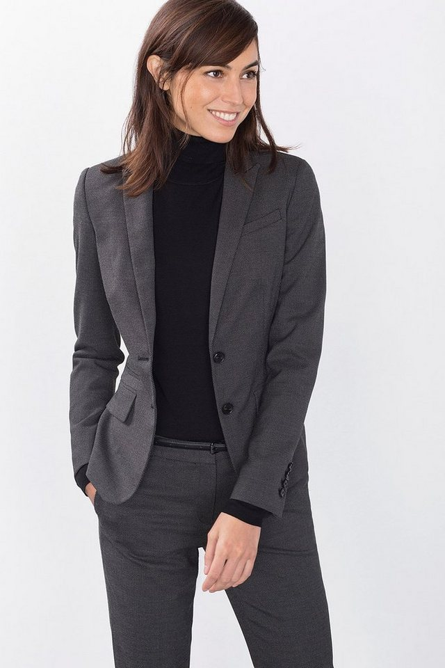 ESPRIT COLLECTION Two Tone Mini Struktur Blazer in GREY