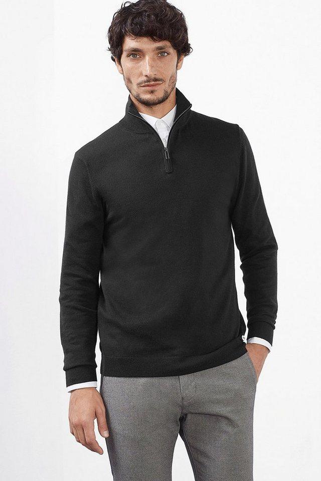 ESPRIT COLLECTION Basic Zip Troyer aus Baumwolle/Seide in BLACK