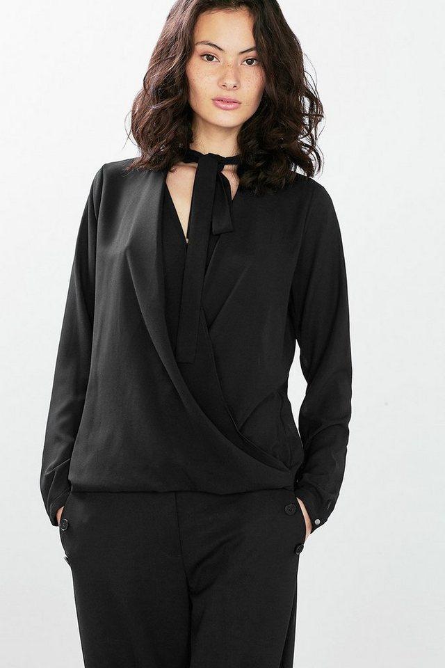 ESPRIT COLLECTION Georgette-Bluse mit Wrap und Schluppe in BLACK